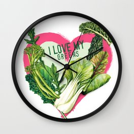 I Love My Greens Wall Clock