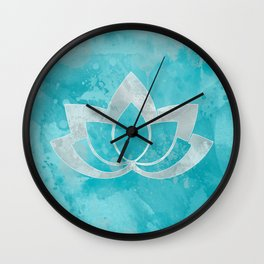 Lotus Flower on Aqua Wall Clock