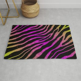 Ripped SpaceTime Stripes - Lime/Pink Rug