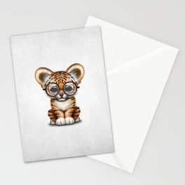Cute Baby Tiger Cub Wearing Eye Glasses on White Stationery Cards