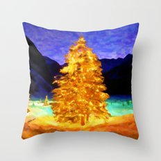 Christmas Trees - Painting Style Throw Pillow