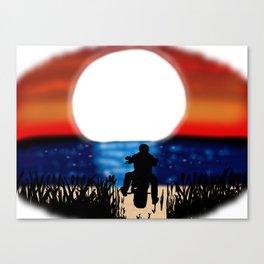 Motorcycle Rider Sunset Canvas Print