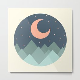 Circle Landscape (Moon & Stars over Mountains) Metal Print