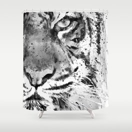 Black And White Half Faced Tiger Shower Curtain