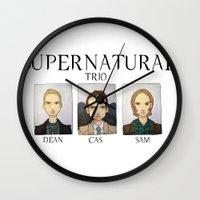 supernatural Wall Clocks featuring SUPERNATURAL by Space Bat designs