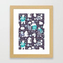 Arctic bear pajamas party Framed Art Print