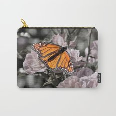 Monarch Butterfly on Pink Flowers and Gothic Tile Carry-All Pouch