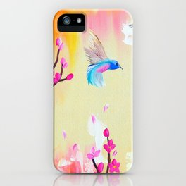 Hummingbirds with pink and yellow iPhone Case