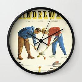 Grindelwald, Swiss Vintage Travel poster Wall Clock