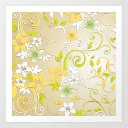 Flowers wall paper 2 Art Print