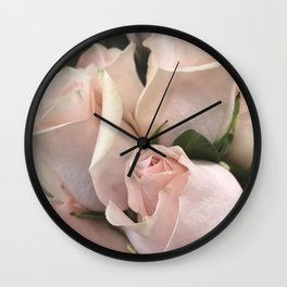 Pastel Gentle Pink Rose Buds Softly Opening Wall Clock