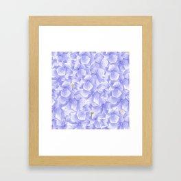 Elegant lavender white faux gold watercolor hydrangea flowers Framed Art Print