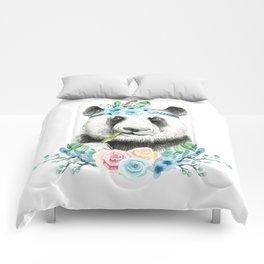Watercolor Floral Spray Boho Panda Comforters