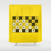 religion Shower Curtains featuring Religion numbs critical thinking  by Yuri Tamburrini