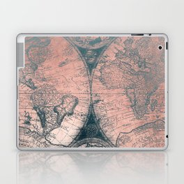 Vintage World Map Rose Gold and Storm Gray Navy Laptop & iPad Skin