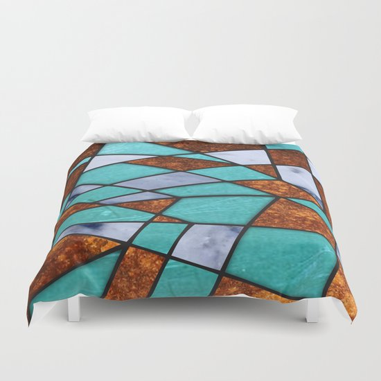 477 Marble Shards Amp Copper Duvet Cover By Ron Trickett