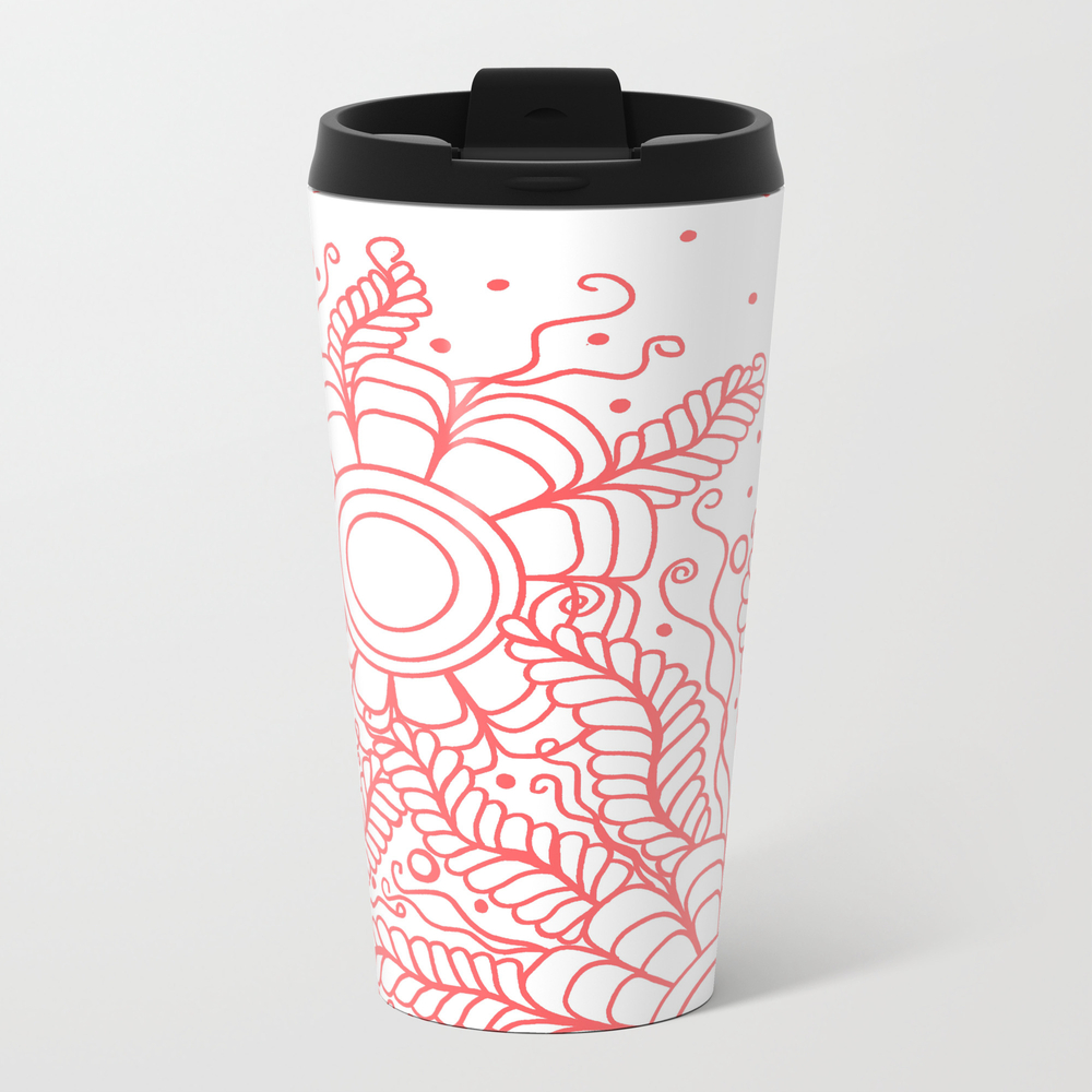 Doodle Art Three Flowers Vines - White And Red Travel Mug TRM8415832