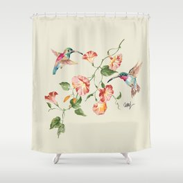 hummingbirds & morning glories Shower Curtain