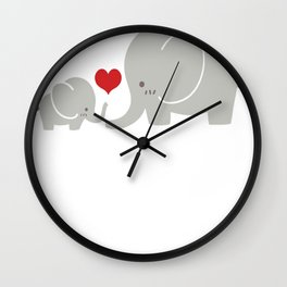 Baby and parent elephant with heart Wall Clock