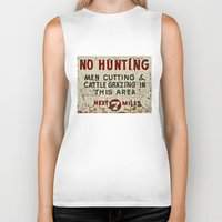 hunting Biker Tanks featuring No Hunting! by Bruce Stanfield