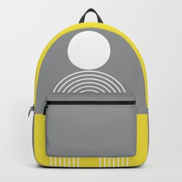 Geometric Lines in Ultimate Grey and Illuminating (Sun and Rainbow abstraction) Backpack