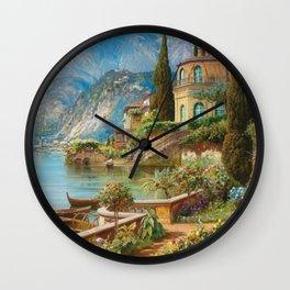 Lakeside Flower Garden Landscape Painting, Lake Como, Italy Wall Clock