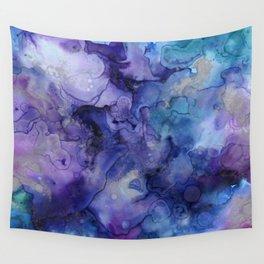 Abstract Watercolor Coastal, Indigo, Blue, Purple Wall Tapestry