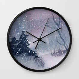 Snowy Winter Night Watercolor Wall Clock