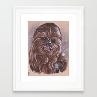 chewbacca Framed Art Prints featuring Chewbacca  by bdevennyart