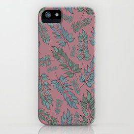 Pink, blue and green leaf pattern iPhone Case