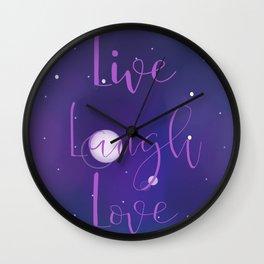 Live, Laugh, Love Galaxy Design Wall Clock