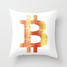 Bitcoin Red Yellow colorful watercolor texture Throw Pillow