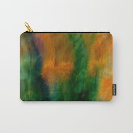 Fleur Blur-Abstract Orange Safflowers & Green Leaves Carry-All Pouch