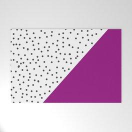 Geometric grey and purple design Welcome Mat