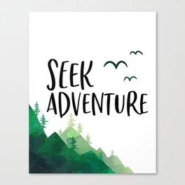 Seek Adventure, Tree Print, Kids Room Decor, Typography Art, Nursery Decor Canvas Print