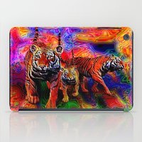 tigers iPad Cases featuring Psychedelic Tigers by JT Digital Art