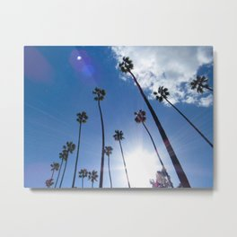 Tall Palm Trees in the Clouds Metal Print