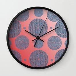 bluemosaictargetcirclesredombre Wall Clock