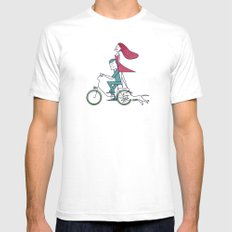 Faster than the wind MEDIUM White Mens Fitted Tee