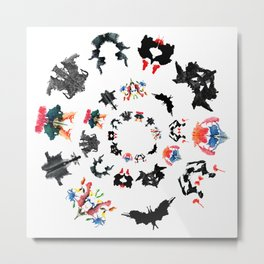 Rorschach test subjects' perceptions of inkblots psychology   thinking Exner score Metal Print