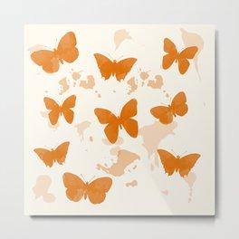 Watercolor Butterflies (Fire Opal) Metal Print
