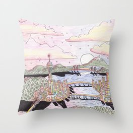 Seattle Black Ink & Colored Pencil Throw Pillow