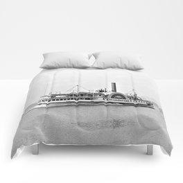 Ticonderoga Side Wheeler Steamboat Comforters