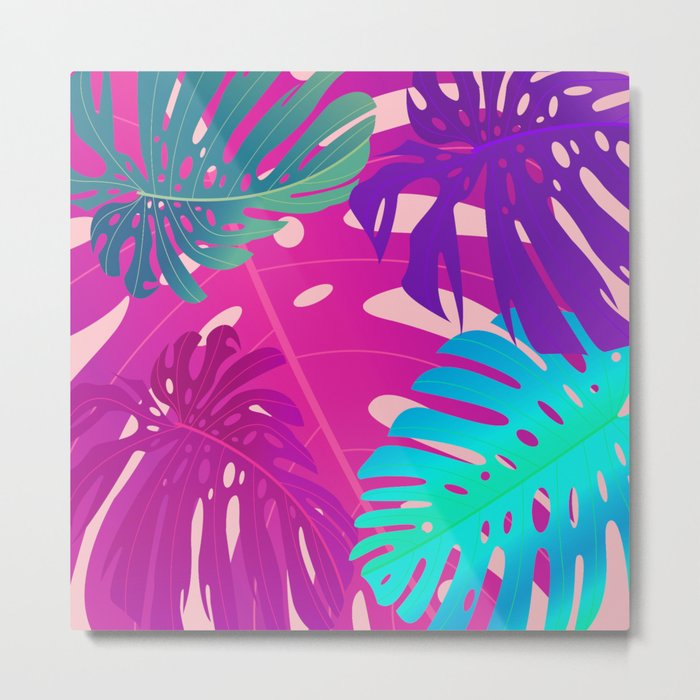 Colorful monstera leaves 1 Metal Print