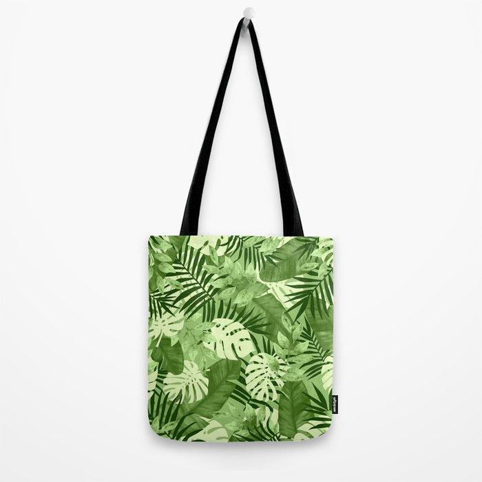 Green Tropical Leaves Pattern Tote Bag