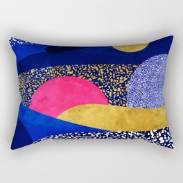 Terrazzo galaxy blue night yellow gold pink Rectangular Pillow