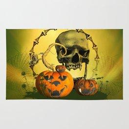 Halloween, funny pumpkins and skull Rug
