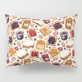 Peanut Butter and Jelly Watercolor Pillow Sham