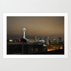Seattle Skyline at Night Art Print