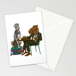 Irish Wolfhound and capybara sitting in the irish pub Stationery Cards